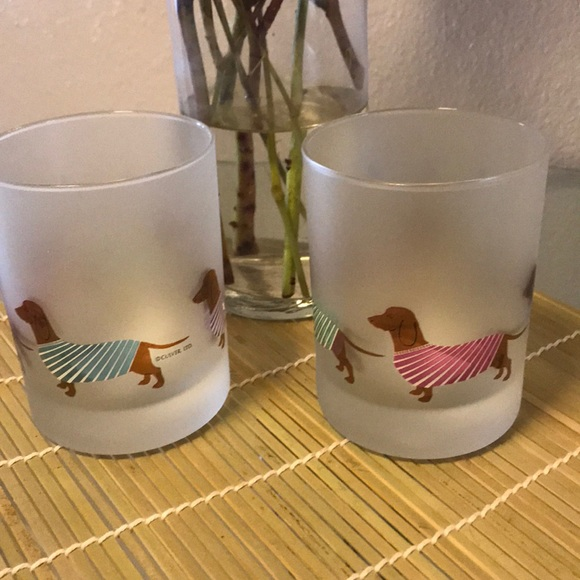 3ec5d19ea7f6 A Pair of Dachshund Frosted Glasses